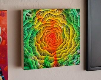 Abstract Vortex Mandala, Big Bang, Original Painting, Original Brush and Ink Drawing by Teddy Pancake, Visionary Art, Contemporary Art #34