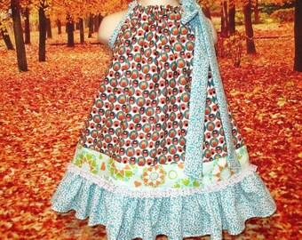 SALE Girls Dress 2T/3T Owls Aqua Floral Pillowcase Dress, Pillow Case Dress, Sundress, Boutique Dress