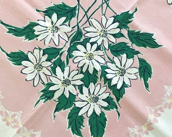 Vintage Daisy Tablecloth, Pink White Colors, Picnic Table Cloth, Barkcloth Fabric, Simtex Design