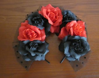 Red and Black Rose dotted mesh headband
