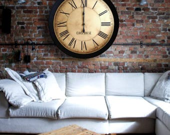 ANTIQUE WALL CLOCK 24in Whiting Distressed Large Wall Clock-Oversized Clock-Family Heirloom-Free Inscription