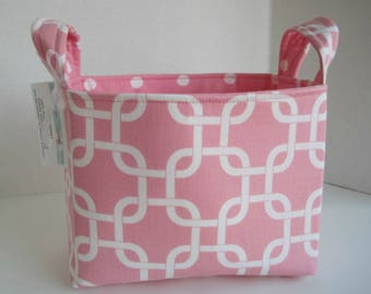 Large Pink and White Fabric Basket