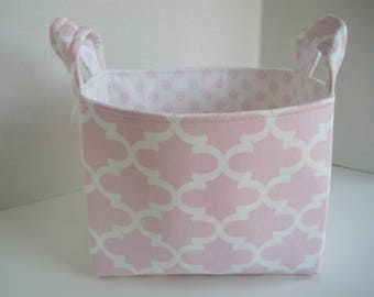 Large Pink, Gray and White Chevron Fabric Basket