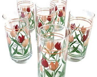 Vintage Libbey CRISA Drinking GLASSES / TULIP Design / Tumblers / Set of 6