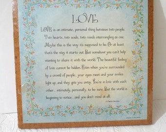 Love plaque, J Carie Sexton, Heirloom Editions, vintage 1976, vintage plaque, wall hanging, wood plaque, Original Package,vintage home decor