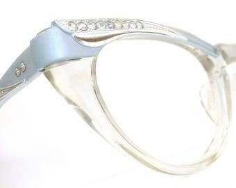 Vintage Beautiful Winged Cat Eye Eyeglasses Sunglasses Frame  Blue with Rhinestones