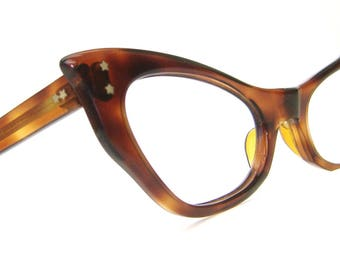Vintage 50s Bat Wing Cat Eye Glasses Frame