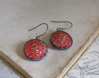 Recycled Glass Button Earrings Repurposed Jewelry Red Gold