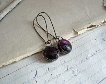 Ultra Violet Glass Earrings Long Arched Earwires Faceted Stained Glass Jewelry