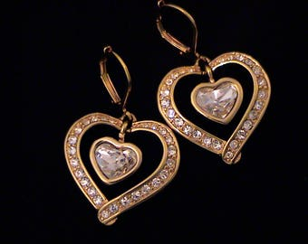 Vintage SWAROVSKI Swan Signed Dangling Heart Earrings
