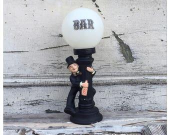 Vintage Bar Lamp - Mancave Lamp - Mancave Lighting - Bar Lighting - Vintage Bar Lighting - Small Lamp - Black Lamp - Drunk Guy Lamp - Madmen
