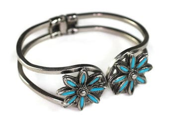Southwestern Style Simulated Turquoise Clamper Bracelet Vintage