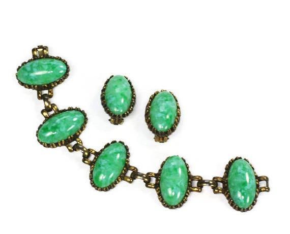 Green Peking Glass Bracelet Earrings Set Bold Chunky Boho Vintage