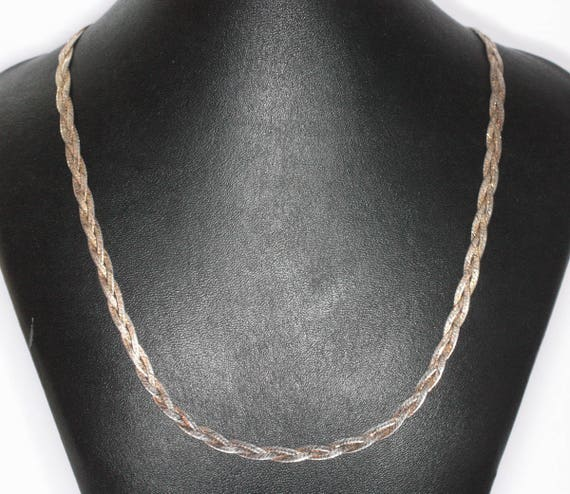 Sterling Braided Necklace Italian Silver 20 inch Two Color Vermeil Gold Wash