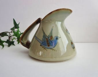 Vintage Pottery Pitcher  - Ken Edwards, El Palomar Tonala Mexican Pottery Pitcher - Blue Bird Tonala Mexico Pitcher