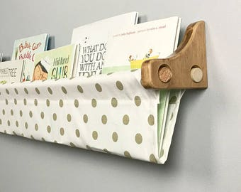Book Sling and Wooden Brackets - Subtle Gold Shimmer Polka Dot - Wall Organizer- Choose your size