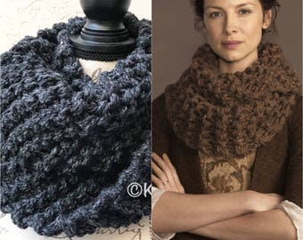 Claire Cowl Outlander Infinity Scarf  Chunky Knit, 8 Colors Acrylic Wool Blend