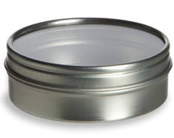 """Round tin container with clear lid 2.5"""""""