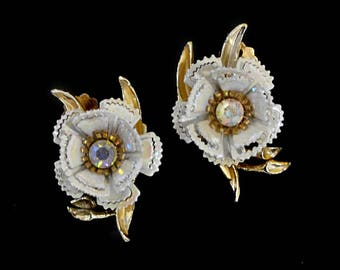 1960s White Enameled and Aurora Borealis Rhinestone 3D Flower Vintage Clip Earrings