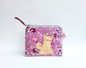 Rose pouch, cat pouch, small change pouch, cat coin purse, handmade pouch, zipper wallet, gift for friend, cute coin purse, coin purse,pouch