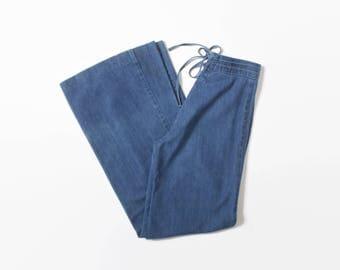 Vintage 70s BELL BOTTOMS / 1970s Medium Wash Denim Lace Up Bells High Waist Jeans