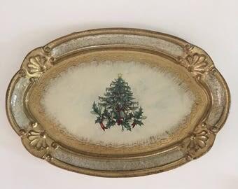 Vintage Florentine Christmas Tree Tray