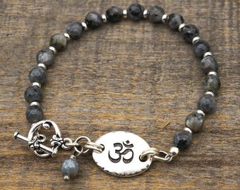 Om bracelet, faceted Norwegian moonstone beads, semiprecious stone and silver, yoga jewelry, 8 inches long