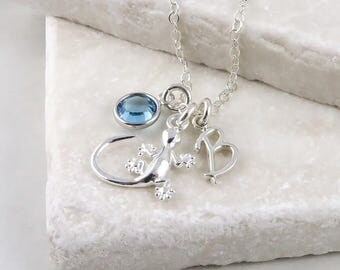 Personalized Gecko Necklace - Sterling Silver Gecko, Birthstone and Initial Necklace