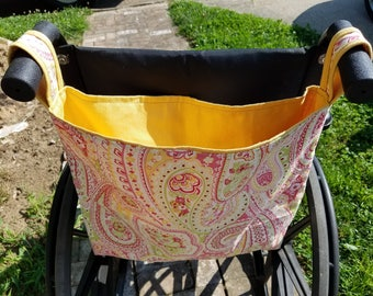 Paisley and Pink Wheelchair Bag, Wheelchair Tote, Organizer, Walker Bag