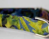 "Medium 3/4"" Hardware Martingale Collar Blue, Purple, Green and Yellow Batik"
