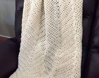 """Handmade Crochet Chevron Ripple Chunky Bulky Couch Afghan sofa bed Throw Blanket stretchy stripes soft NATURAL off-white 42"""" x 48"""" New"""