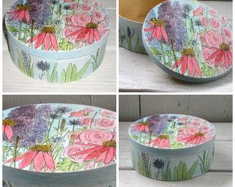 Garden Flowers Painted Box Round Keepsake Wood Furnishing