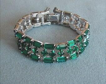 Signed Joseph Weisner Green Rhinestone Bracelet