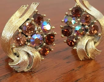 Vintage Lisner Clip On Earrings, gold and brown aurora borealis rhinestones, fall jewelry, collector jewelry, lisner jewelry, lisner earring