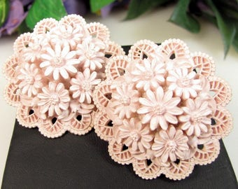 """Vintage PINK FEATHERLIGHT EARRINGS Floral Domed Celluloid Clip On 1.5"""""""