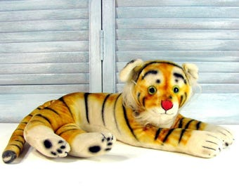 "Vintage LG PLUSH TIGER Figure Toy Doll Japan Glass Eyes 17"""