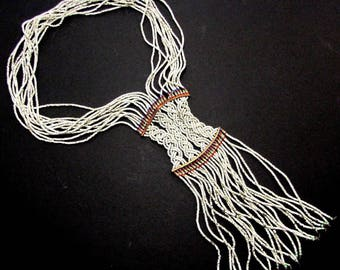 Vtg AFRICAN TRIBAL BEADED Necklace Unusual Braided Center Piece Fringe Antique