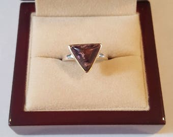 Triangle Sterling Silver and Purple Copper Turquoise Ring Size 7