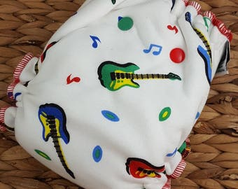 Rockin - One Size, (11-35#), Bamboo Fitted Diaper, Bamboo Diapers, Bamboo Nappy, Fitted Diaper, Cloth Diaper, Guitar, Diaper, Rock and Roll