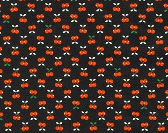 Robert Kaufman Fabric Tiny Happy Lucky Collection Cherries in Black, Choose your cut
