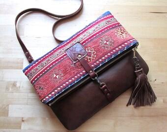 Fold over leather bag, leather clutch, bohemian clutch, gypsy bag, cross body bag, kilim bag, hippie bag, Aztec bag, leather bag, carpet bag