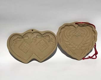 Vintage Heart Cookie Molds Brown Bag Cookie Art 1988 Hill Design