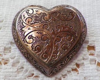 Beautifully Embossed Siam Sterling Silver Hollow Heart Shaped Brooch / Pin / Pendant, Embossing, Beveled Edges, Valentines Day Jewelry
