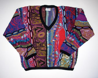 COOGI Australia Sweater size Mens L Cotton, Long Sleeve V Neck Colorful 3D Patterned Sweater, LOVE Electric Guitars Color Blocked WILD Multi