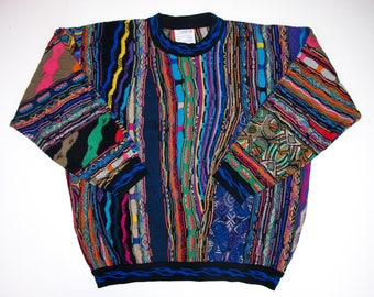 Authentic COOGI Australia Mens Sweater size M Cotton Colorful Long Sleeve Crew Neck Hip Hop Biggie, Textured Geometric Pullover Medium