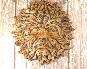 Pottery Greenman - Green Man - Garden Decor Wall Hanging - Ceramic Garden Ornament - Wicca - Gardener Gift Ideas - Nature Lover Gift - 424