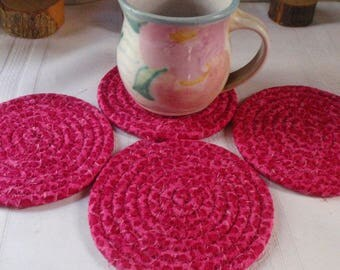Bright Pink Leopard Print Coiled Fabric Coasters - Set of 4 for your Kitchen, Entertaining, Handmade by Me