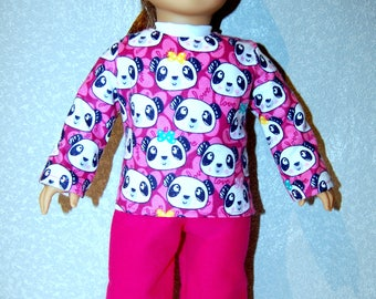 "Pajama Top and Pants for 18"" Doll Clothes Panda Top Pink Pants American Handmade tkct1205 READY TO SHIP"