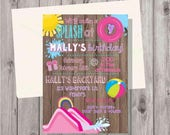 ON SALE Digital Rustic Wood Pink Waterslide Water Slide Waterpark Water Park Birthday Party Invitation Printable