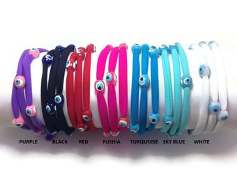 Evil eye lucky string wrap bracelet - Friendship bracelet - Stainless steel - choice of colors